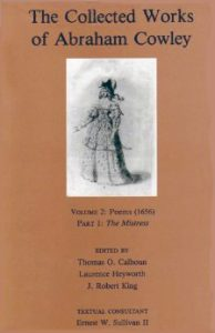 Cover: The Collected Works of Abraham Cowley: Volume 2: Poems (1656) Part I: The Mistress