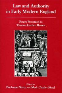 Cover: Law and Authority in Early Modern England: Essays Presented to Thomas Garden Barnes